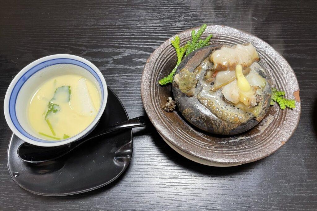 茶碗蒸し・アワビのバター焼き