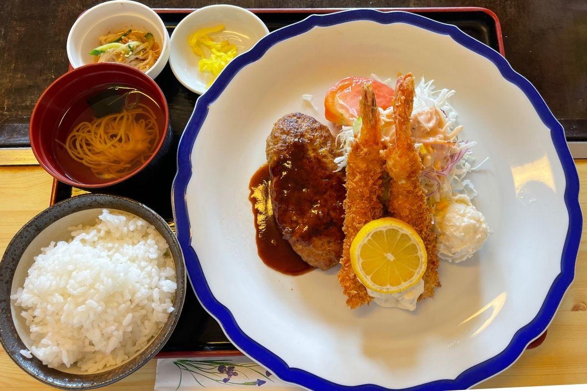 ふくだや 海老フライ&ハンバーグ定食(1,020円)